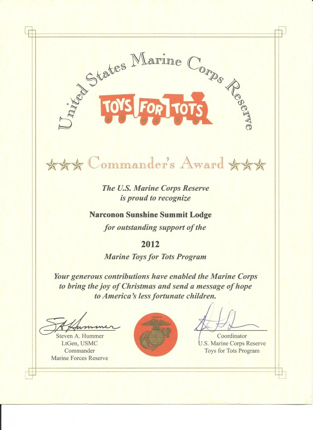 Sunshine Summit Lodge - Toys For Tots Certificate